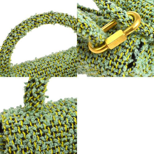 CHANEL 2 in 1 Hand Bag Set Green Tweed from 1994