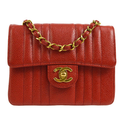 CHANEL Mademoiselle Classic Flap Mini Square Shoulder Bag Red Caviar