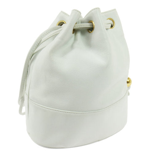CHANEL CC Logos Drawstring Shoulder Bag White