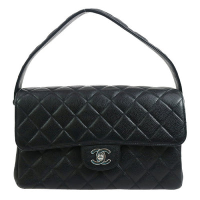 CHANEL Both Side Flap Hand Bag Black Caviar Skin