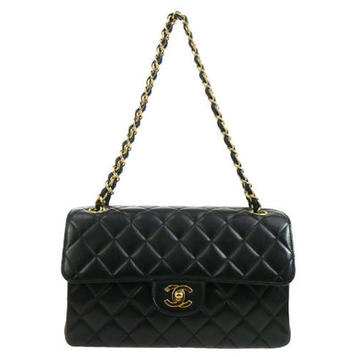 CHANEL Both Side Flap Chain Hand Bag Black