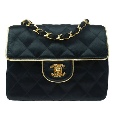 CHANEL Quilted Classic Flap Mini Square Shoulder Bag Black Satin