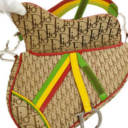 Christian Dior Trotter Pattern Saddle Hand Bag Rasta Color