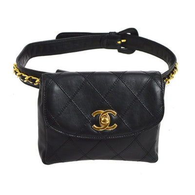 CHANEL Cosmos Line CC Chain Waist Bum Bag Black 65/26