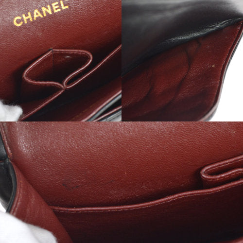 CHANEL V Stitch Classic Double Flap Medium Shoulder Bag Black