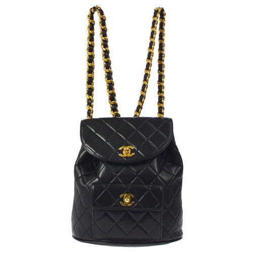 CHANEL Duma Quilted CC Drawstring Chain Backpack Bag Black