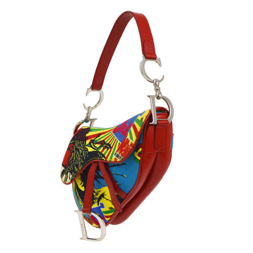Christian Dior Saddle Hand Bag Rasta-Color Red