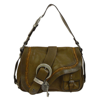 Christian Dior Gaucho Shoulder Bag Brown