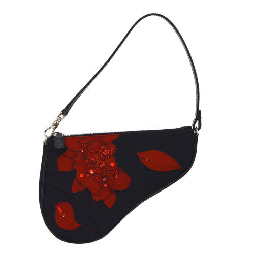 Christian Dior Saddle beads Spangle Hand Bag Red Black Satin