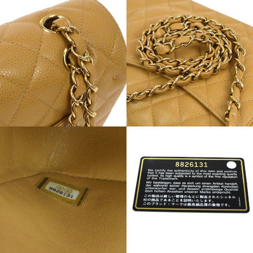 CHANEL Quilted Classic Double Flap Medium Shoulder Bag Beige Caviar