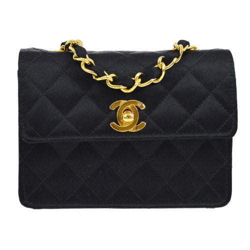 CHANEL Quilted Classic Flap Micro Shoulder Bag Black Satin