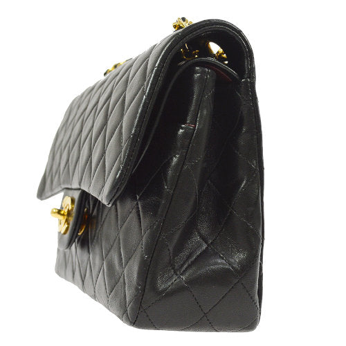 CHANEL Quilted Classic Double Flap Medium Shoulder Bag Black