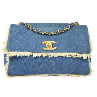 CHANEL Quilted Classic Flap Maxi Shoulder Bag Denim