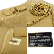 CHANEL Quilted CC Logos Chain 2way Hand Bag Beige