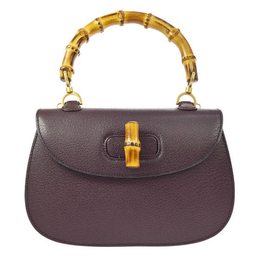 GUCCI Bamboo Line 2way Hand Bag Violet