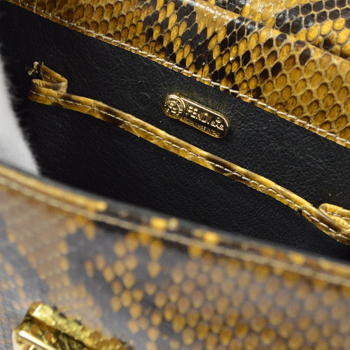 FENDI Chain Shoulder Bag Brown Python