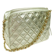 CHANEL Quilted Chain Quilted Shoulder Bag Gold