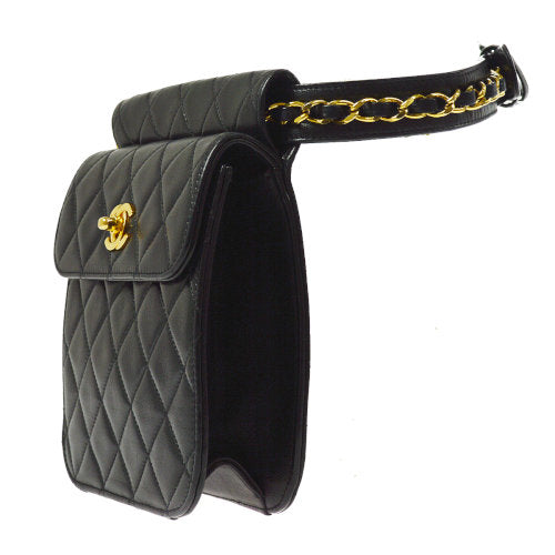 CHANEL Quilted CC Chain Bum Bag Waist Pouch Black