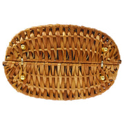 FENDI Logos Hand Bag Brown Rattan