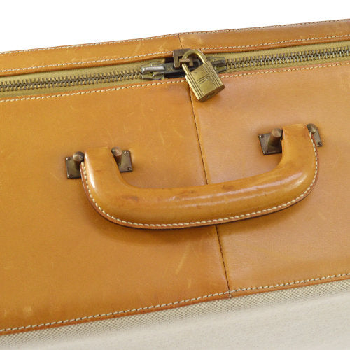 HERMES Logos Trunk Travel Hand Bag Beige Brown Toile H