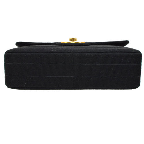 CHANEL Classic Flap Jumbo Shoulder Bag Black Cotton