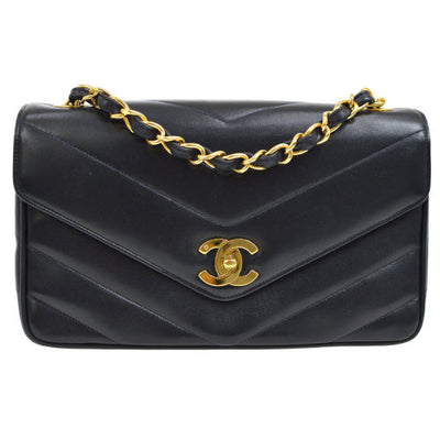 CHANEL V Stitch CC Single Chain Shoulder Bag Navy