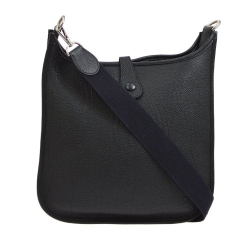 HERMES EVELYNE PM Shoulder Bag Black Veau Crispe Togo