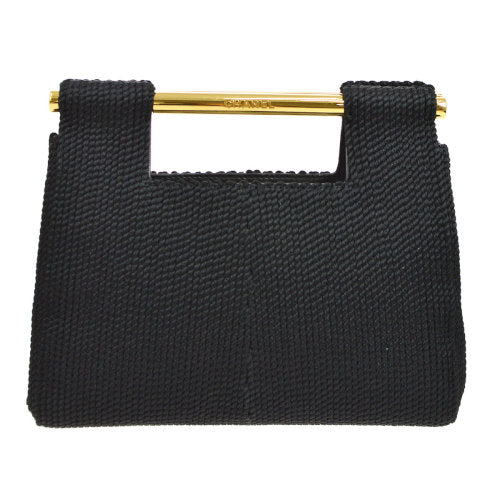 CHANEL CC Logos Hand Bag Black Cotton