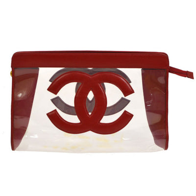 CHANEL Jumbo CC Zipped Pouch Red Clear