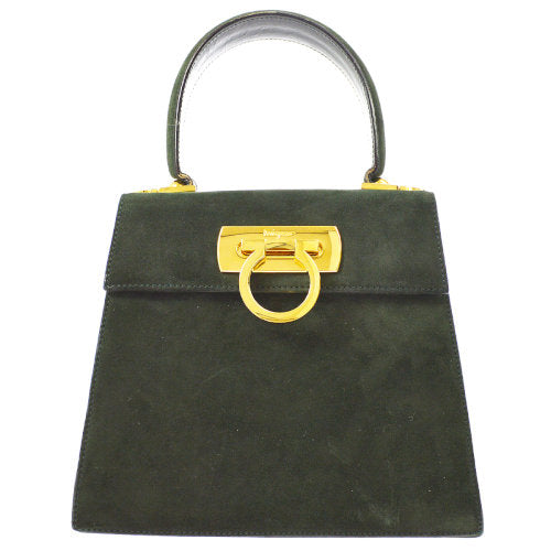 Salvatore Ferragamo Gancini 2way Hand Bag Dark Green