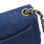 CHANEL Quilted Classic Flap Mini Square Shoulder Bag Denim