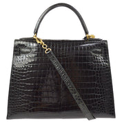 HERMES KELLY 28 2way Hand Bag Crocodile Porosus Skin Black