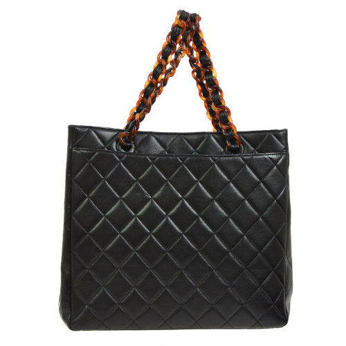 CHANEL Quilted CC Plastic Chain Hand Tote Bag Dark Brown