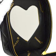 CHANEL Quilted Cosmetic Vanity Hand Bag Black