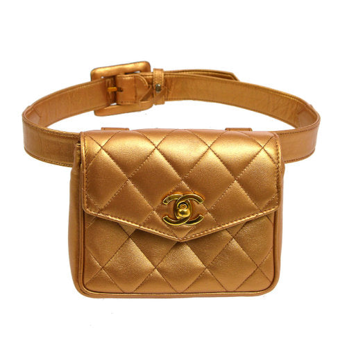 CHANEL Quilted CC Logos Waist Bum Bag Bronze
