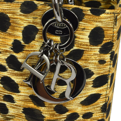Christian Dior Lady Dior Cheetah 2way Hand Bag Beige