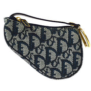 Christian Dior Trotter Saddle Mini Pouch Navy Gray Canvas