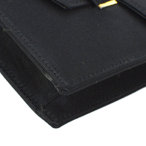 HERMES Faco Clutch Black Satin