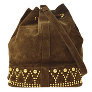 YVES SAINT LAURENT Studs Drawstring Shoulder Bag Brown