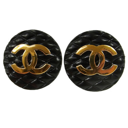CHANEL Vintage CC Logos Gold Button Earrings