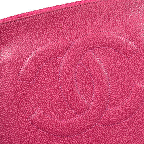 CHANEL CC Logos Zipped Pouch Pink