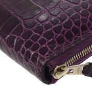 HERMES Azap Zipped Long Wallet Purse Purple Crocodile Alligator