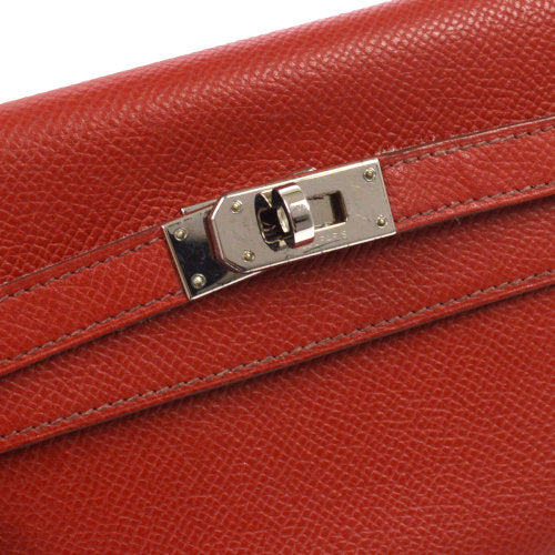 HERMES Vintage H Logos Kelly Wallet Purse Red Couchevel