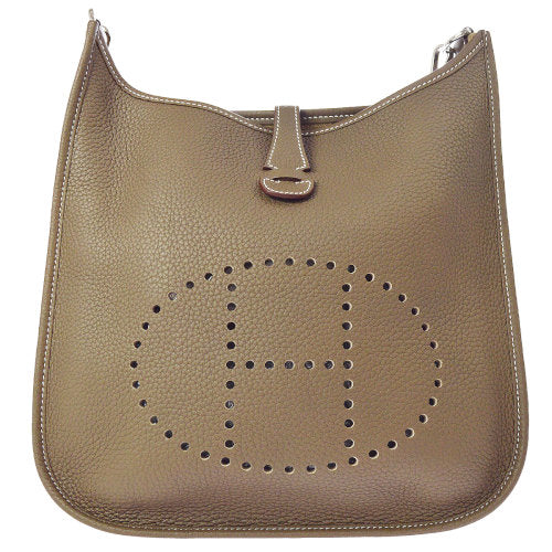 HERMES EVELYNE POCHE 3 29 Shoulder Bag Etoupe Taurillon Clamence