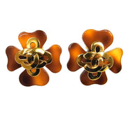 CHANEL CC Logos Tortoiseshell Clover Earrings 95P