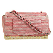 CHANEL Espadrille Quilted CC Double Chain Shoulder Bag Pink