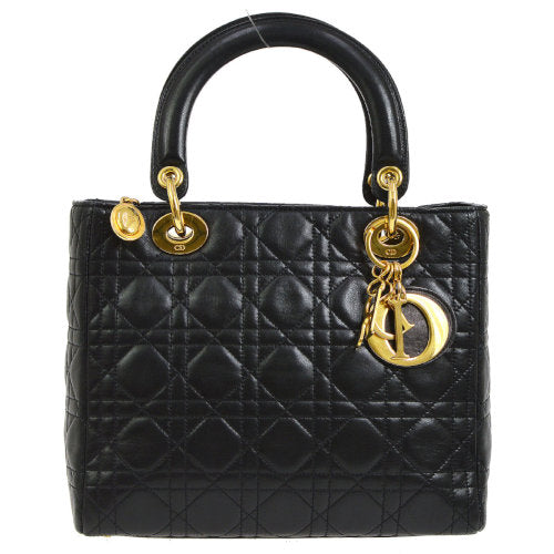 Christian Dior Lady Dior Cannage 2way Hand Bag Black