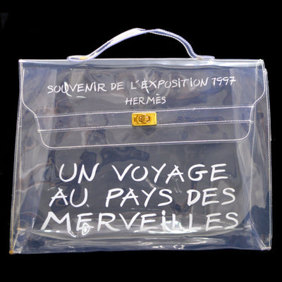 HERMES Vinyl Kelly Hand Beach Bag SOUVENIR DE L'EXPOSITION 1997