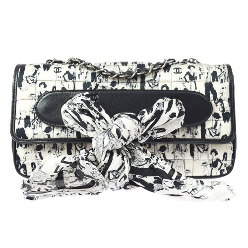 CHANEL Choco Bar CC Double Chain Shoulder Bag Silk Scarf
