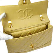 CHANEL Quilted CC Logos Double Chain Shoulder Bag Beige